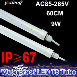 Waterproof LED T8 Tube Light for Outdoor Lighting ,Single End Wired Powered connection,IP67 for outdoor,cooler,freezer,60CM 9W,Freeshiping