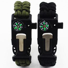 Outdoor Bracelet Survival Escape Life-saving Bracelet Para cord Hand Made With Plastic Buckle Umbrella rope bracelets Camping compass