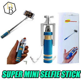 Wholesale Super Mini Wired Monopod Selfie Sticks For Ios Android Extendable Universal Aluminum Pocket Foldable Cable Selfie Sticks With Retail Package