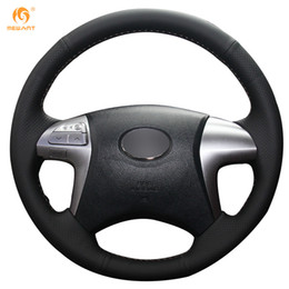 Mewant Black Genuine Leather Car Steering Wheel Cover for Toyota Fortuner Hilux 2012-2015