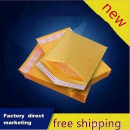 Acheter en ligne Kraft enveloppe jaune-100pcs Beaucoup de tailles Jaune Kraft Bubble Mailing Envelope Sacs Bubble Mailers Enveloppes rembourrées Emballage Emballage Sacs