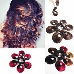 Human hair weaves Brazilian Hair Short Natural Wave Ombre Hair Extensions 1B Burgundy 1B 27 1B 30 Color 10inch