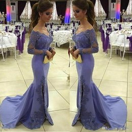 Lavender Sheer Long Sleeve Off the Shoulder Prom Dresses Applique Sequins Mermaid Side Split Evening Dresses Sweep Train Formal Party Gowns