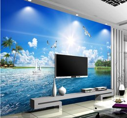 Wholesale Custom any size beautiful seascape Marine d TV setting wall mural d wallpaper d wall papers for tv backdrop