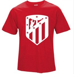 2017 NEW logo Atletico Madrid T-shirt Camiseta 100% Cotton handmade Men Tees T Shirt Carrasco Saul Niguez Griezmann fan