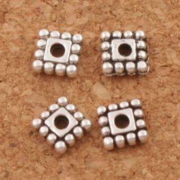Dots Rim Square Beads Alloy Spacers 1600pcs lot 5x5mm Antique Silver Jewelry Findings L673 Hot sell Components