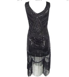 2016 new party dresses Women's 1920s Gastby Inspired Sequined Embellished Fringed Flapper Black Silver Thread Embroidery Dress