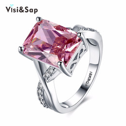 Visisap large pink cubic zircon female ring engagement bague bijoux wedding Rings For women fashion Jewelry gold color VLKN827