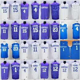 Wholesale 2016 College Kentucky Wildcats Basketball Jerseys Anthony Davis Rajon Rondo Skal Labissiere John Wall Towns White Purple