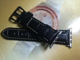 Wholesale New mm Mens Black Leather Watch Strap crocodile grain equipped with apple connector First class quality the most favorable price free