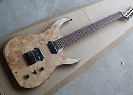 Wholesale 6 String Electric Guitar with Ash Body and Burl grain Maple Veneer Black Hardwares Offer Customized