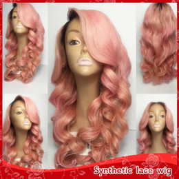 Fashion Heat Resistant 2 Tones Black Pink Ombre Wavy Curly Wigs Synthetic Lace Front Wig Dark Roots Fiber Long Wavy Wigs for Women