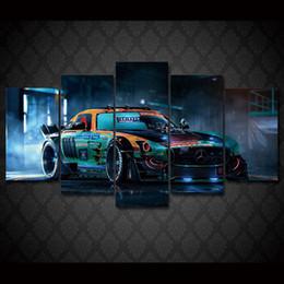 2017 marcos de carreras 5 PC / cuadro enmarcó la pintura impresa HD del coche de competición en la lona del cuadro del cartel de la impresión de la decoración de la habitación de la lona enmarcada Envío libre / ny-1319 barato marcos de carreras
