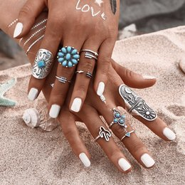 9Pcs  Turquoise Bohemian Ring Set Vintage Steampunk Cross Flowers Anillos Ring Knuckle Rings for Women 2017 New Jewelry