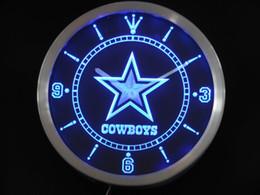 Promotion signes de cow-boy Vente en gros-nc0503 Dallas Cowboys signe néon LED horloge murale en gros Dropshipping