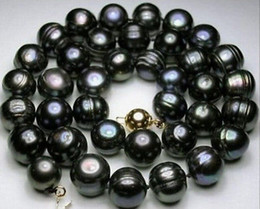 real beautiful 18''10-12mm baroque Natural tahitian black pearl necklace