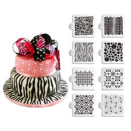 8pcs set DIY Storage Box Stencil Set, Bubbles Dot Zebra Painting Stencil, Fondant Cake Decorating Tools, Bakeware TemplateST-831