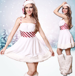 Christmas Sexy Fashionable White Glamour Comfortable Bodycon Ladies Dress Skirt, Three-piece Suit: Clothes,Hat,Hairy Legs,Christmas suits
