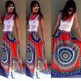 Bohême plissé jupe longue en Ligne-2015 Mode Nouveau Casual Eté Bohême Femmes Plissé Boho Floral Imprimer Plage Maxi Fleur Élastique Taille Longue Jupe Longue