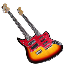 Hot Sale Two-neck Electric Guitar with Tobacco Sunburst Color,6-String Guitar and 4-String Bass and Active Pickups