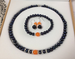 free shipping > Details about Black Akoya Cultured Pearl Orange Jade bracelets necklace earrings set No box