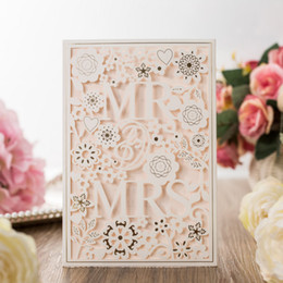 Wholesale wedding invitations laser cut wedding invitations wedding invitation party favors with Blank Inside and white Envelope love Party Decoration
