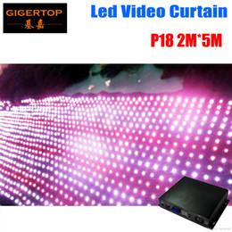 Promotion rgb led net P18 2M * 5M a conduit le rideau vidéo avec le contrôleur de PC / SD 8 sortent le câble net conduit le rideau graphique, tricolore a conduit le rideau léger 90V-240V