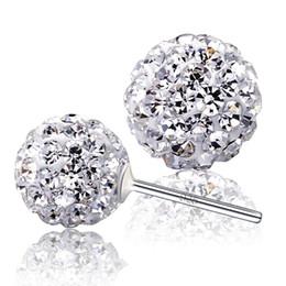 Hot 925 sterling silver earrings jewelry charm simple 6 8 10 12 mm Shambhala ball earrings