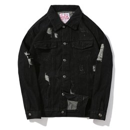 Men's Fashion High Street Comfortable Handsome Hip-hop Long Sleeve Jacket And A Big Ripped Open Denim Jacket , Good Quality