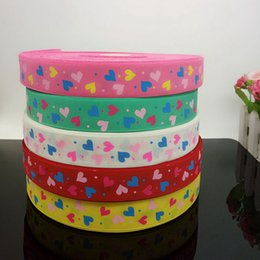 "10 yards 1"" grosgrain ribbon printed heart DIY Weaving wedding christmas decorations for making hair bows R009"