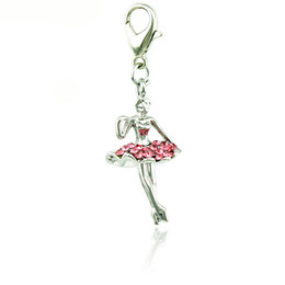 Fashion Charms With Lobster Clasp Dangle Rhinestone 3D Dancing Girls Pendants DIY Charms For Jewelry Making Accessories