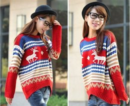 Wholesale 2016 Hot Selling Christmas Sweater Women Clothes Fashion Thicken Deer Stripes Printed Casual Loose Knitted Sweaters Female Pullover On Size