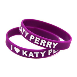 Wholesale 100PCS Lot I Love Katy Perry Silicone Wristband Decoration Bracelet Give Away Gift For Music Fans
