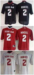 Johnny maillots manziel à vendre-Womens Texas AM Aggies # 2 Johnny Manziel Rouge blanc noir Maillots de football pour collège pour femmes
