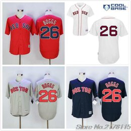 Wholesale Christmas Special Wade Boggs Jersey Shirt White Gray Navy Blue Red Baseball Jerseys