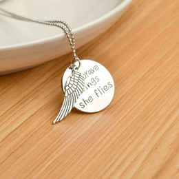 Wholesale 2017 Fashion retro wing engraved letters quot With brave wings she flies quot Pendant Alloy Necklace Jewelrys Gift