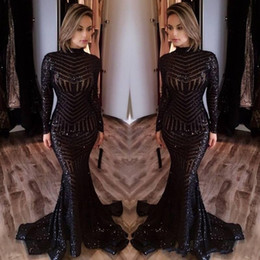 Bling Black Sequined Evening Dresses 2017 Michael Costel Long Sleeves Mermaid Prom Dresses Sequins Red Carpet Celebruty Dresses Cheap
