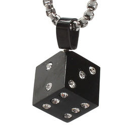 Factory Prices Glues Rhinestone Crystal Stone Dice Pendants For Men Hip Hop Jewelry Steampunk Stainless Steel Necklace Women Gothic 2017 New