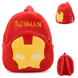 Animación de dibujos animados Super héroe Ironman peluche mochila de los niños de la escuela de la bolsa Mochila de jardín de infancia para 1-3 años de edad bebé niños desde superhéroes juguetes de peluche fabricantes
