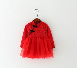 Wholesale Chinese Tang Suit Style Child - Retail Girl Red Cheongsam Chinese Style Traditional Spring Autumn Girls Dress Children Tang Suit Lace Kids Cheongsam Baby Princess Dress