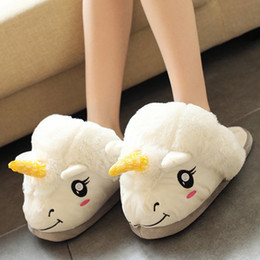 Wholesale 2016 Winter Warm Indoor Slippers Cute Cartoon Plush Unicorn Casual Slippers for Grown Ups White Black Unisex Home Flats