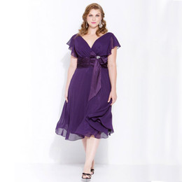 Purple Chiffon Mother of Bride Plus Size Dresses A Line V Neck Tea Length Wedding Party Dress with Ruffled Sleeves