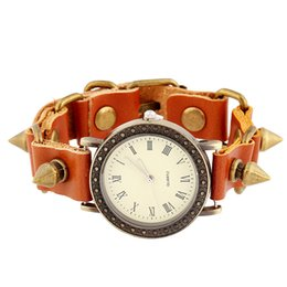 Spike Bracelet Watch Cowhide Watches Punk Bracelet Watch Mirror glass Leather jewelry