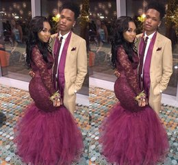Wholesale 2017 Burgundy Mermaid Black Girls Prom Dresses Long Sleeves Illuiosn Formal Evening Gowns Red Carpet Celebrity Runaway Dress Custom Made