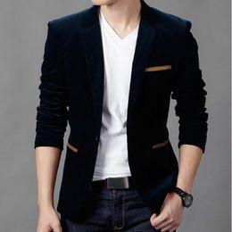 Wholesale Hommes Blazer Mode British style Casual Slim Fit Suit Veste Hommes Blazers Hommes Manteau Terno Masculino Plus Size XL
