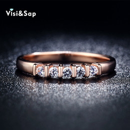 Visisap Rose Gold color Rings for women Korean style Wedding rings fashion Jewelry party Bijoux luxury Accessories V18KR019