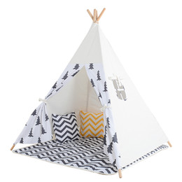 Wholesale Black Tree Printed Children Teepee Four Poles Kids Play Tent Cotton Canvas Tipi For Baby House Ins Hot