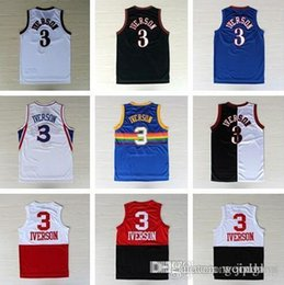 Wholesale best selling Allen Iverson Jersey Allen Iverson White Black Red Rainbow Blue Split Anniversary Jersey Embroider Logo