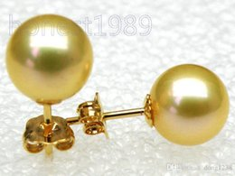 FREE shipping>18k yellow gold AAA+++ 8.2mm round golden yellow south sea pearl earring stud