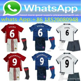 Wholesale 2016 best Thailand Quality MancHester kids jersey home away RD jerseys UnITED Ibrahimovic MEMPHIS ROONEY POGBA kits Shirt